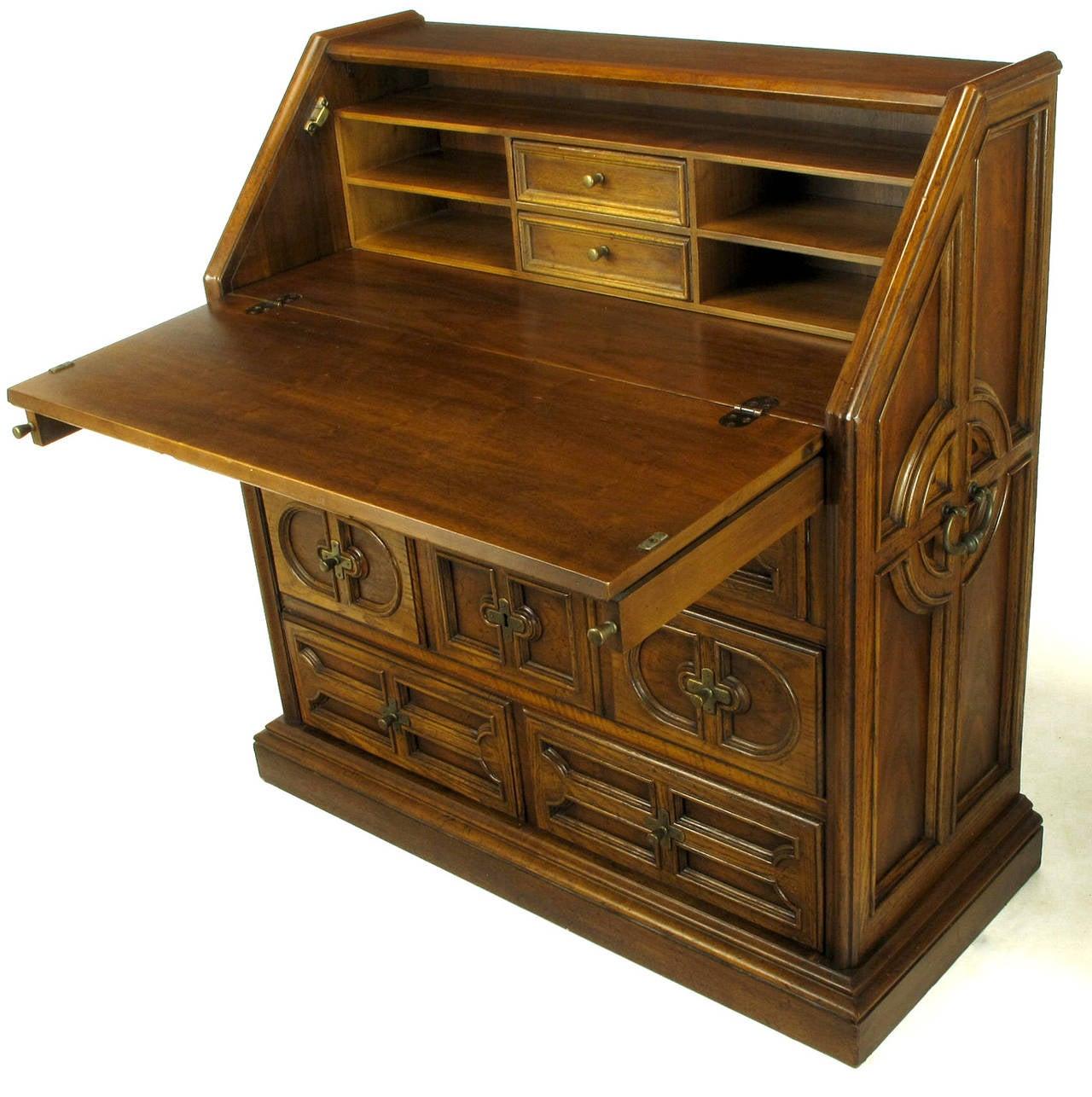 Drexel Sandia Collection Jacobean Drop Front Desk For Sale At 1stdibs