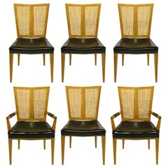 Set of Six Michael Taylor for Baker Walnut and Leather Dining Chairs