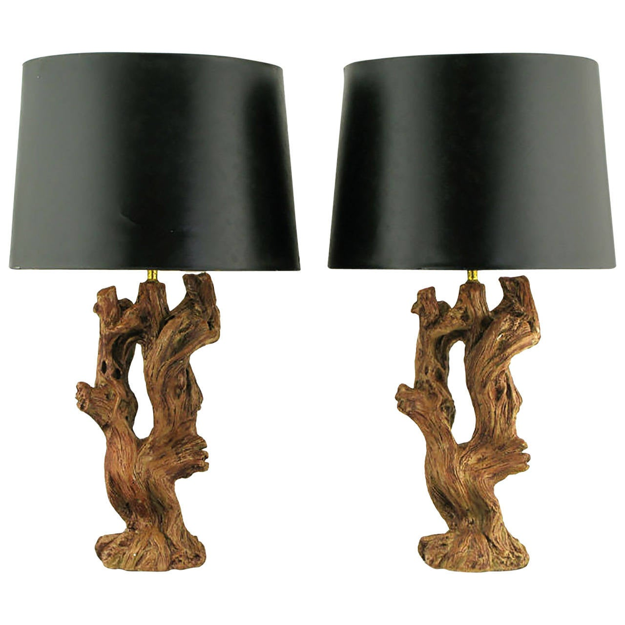 Pair of Ceramic Driftwood-Form Faux Bois Table Lamps