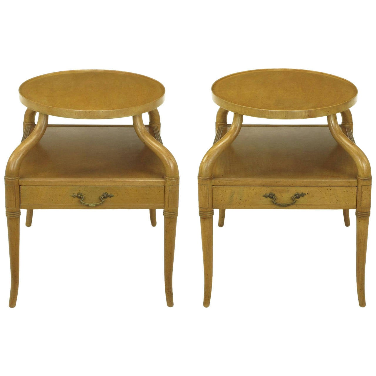 Pair of 1940s Mahogany Plateau Side Tables with Sinuous Legs