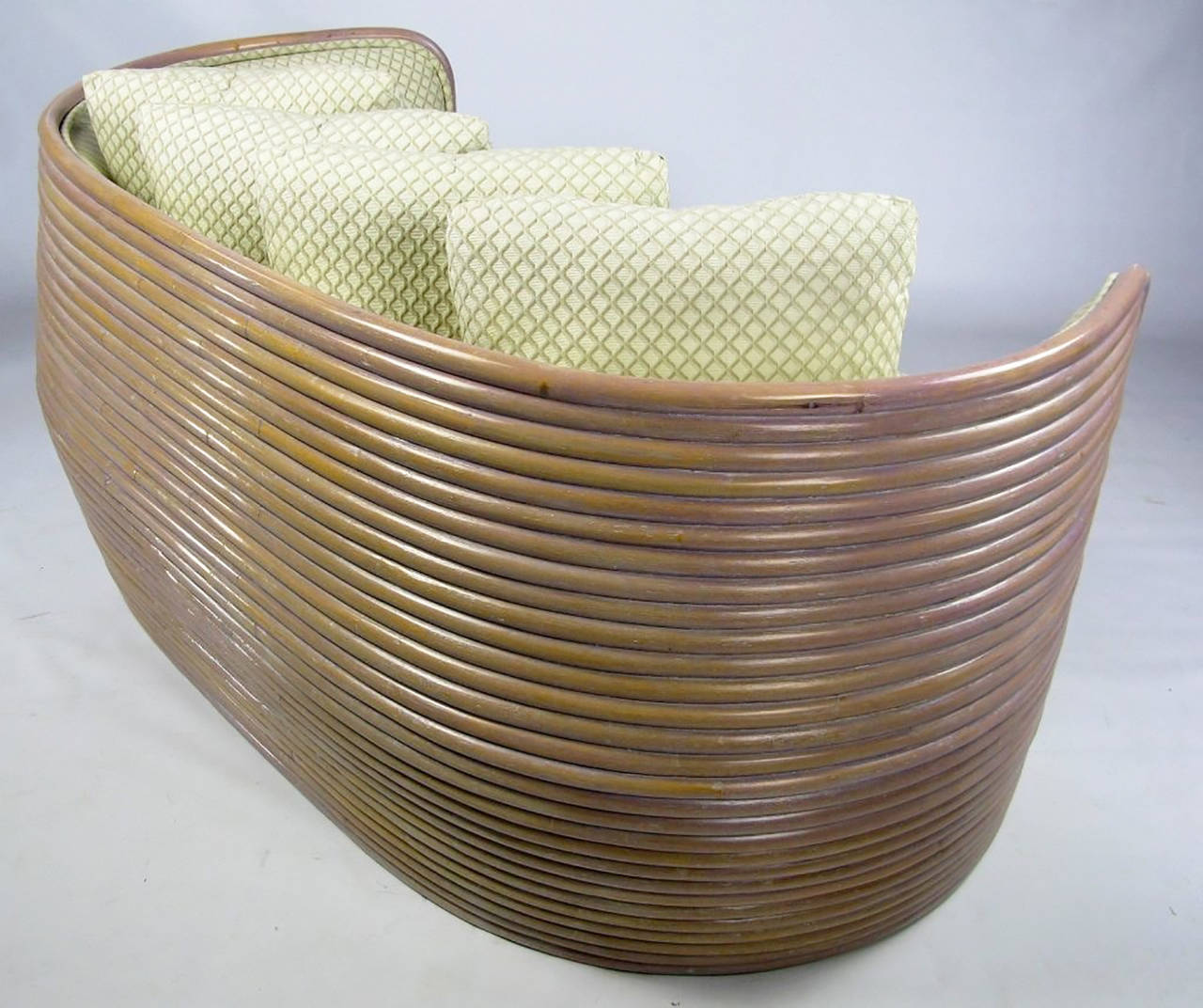 Lacquer Baker Bombe Rattan Settee For Sale
