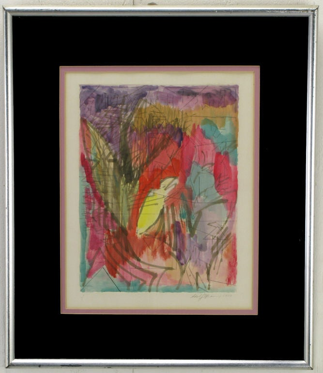 Reds, amethyst, emerald green and yellow water color with ink abstract painting on pressed water color paper and framed in silver leafed frame with black and rose matting. Signed and dated 1979.