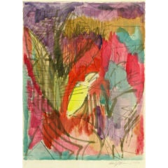 Jewel Toned Abstract Water Color & Ink Painting