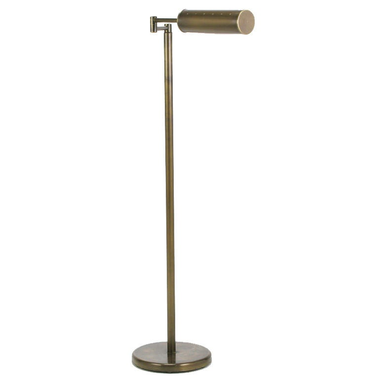 Bronze swing arm pharmacy floor lamp by nessen at 1stdibs for Floor lamp 2 arms