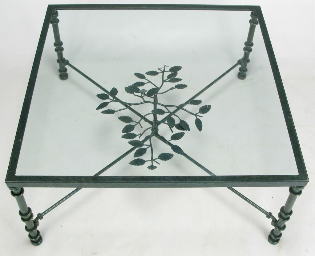 Verdigris lacquered wrought iron square coffee table image 2 for Square wrought iron coffee table
