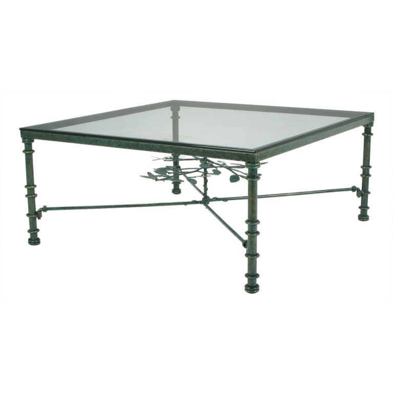 verdigris lacquered wrought iron square coffee table at
