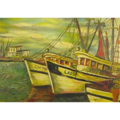 Signed WPA Style Oil On Canvas Painting Of Boats In A Habor