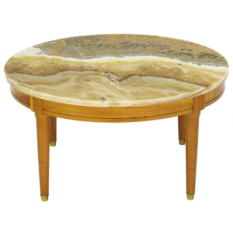 1950s Bleached Walnut Coffee Table With Onyx Top At 1stdibs