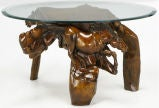 Glass Top Coffee Table With Carved Wood Stallion Base image 2