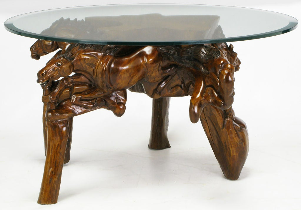 Glass top coffee table with carved wood stallion base image 3 Carved wood coffee table
