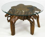 Glass Top Coffee Table With Carved Wood Stallion Base image 6