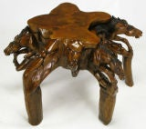 Glass Top Coffee Table With Carved Wood Stallion Base image 9