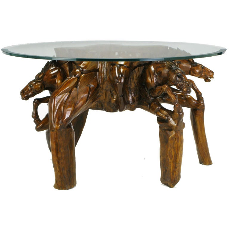 Glass Top Coffee Table With Carved Wood Stallion Base