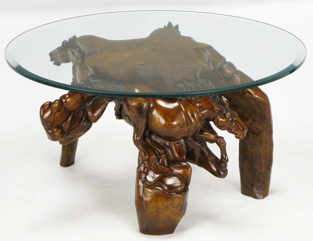 Glass Top Coffee Table With Carved Wood Stallion Base At 1stdibs