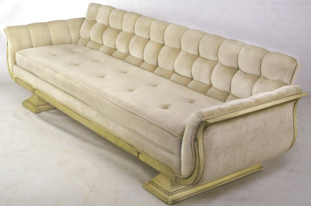 gondola sofa in biscuit tufted tan velvet at 1stdibs Purple Velvet Tufted Sofa Black Velvet Tufted Sofa