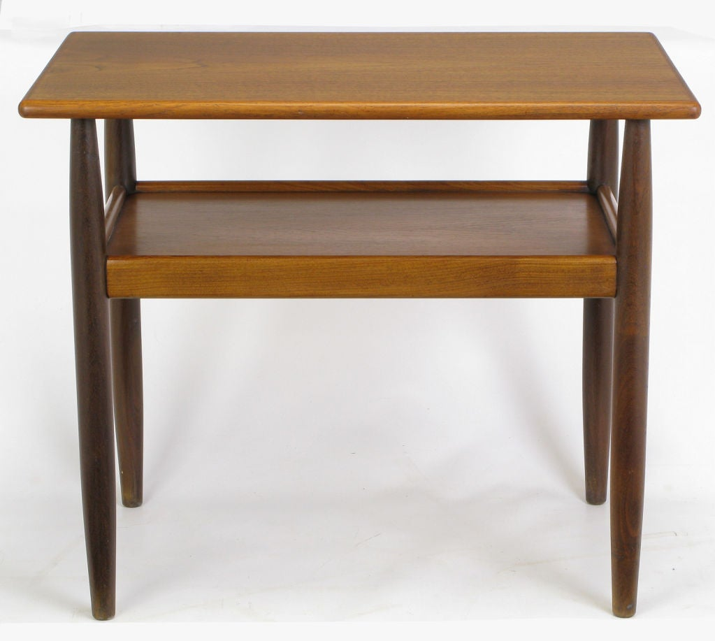 Classic Vintage French 55 Square Two Tier Brass Glass: Rectangular Walnut And Teak Two-Tier End Table At 1stdibs