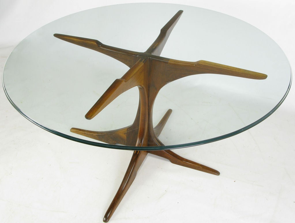 Custom x base teak wood dining table with glass top at 1stdibs - Table base for round glass top ...