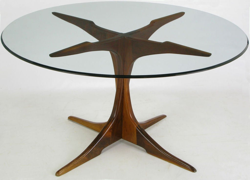 Custom X-Base Teak Wood Dining Table with Glass Top at 1stdibs