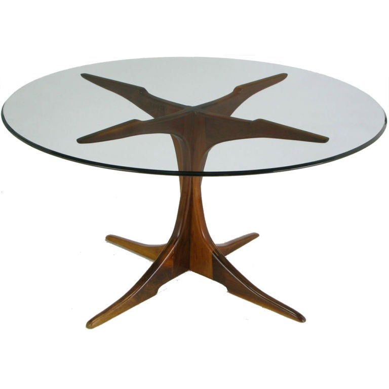 Custom x base teak wood dining table with glass top at 1stdibs - Designer glass dining tables ...