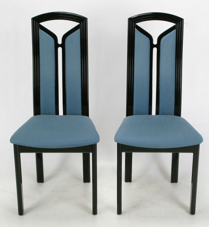 italian lacquer dining room furniture | Wolf Bandelow Black Lacquer and Cadet Blue Italian Dining ...