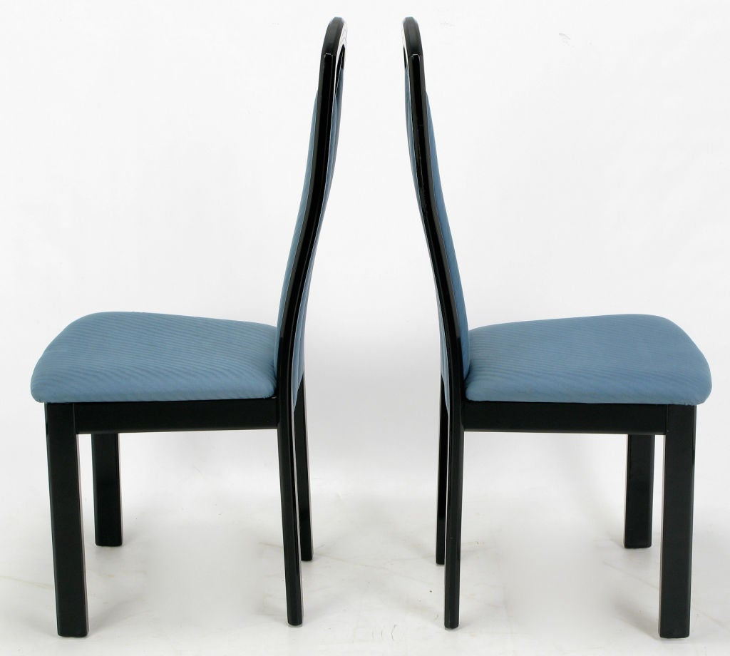 Black Lacquer Dining Room Chairs: Wolf Bandelow Black Lacquer And Cadet Blue Italian Dining