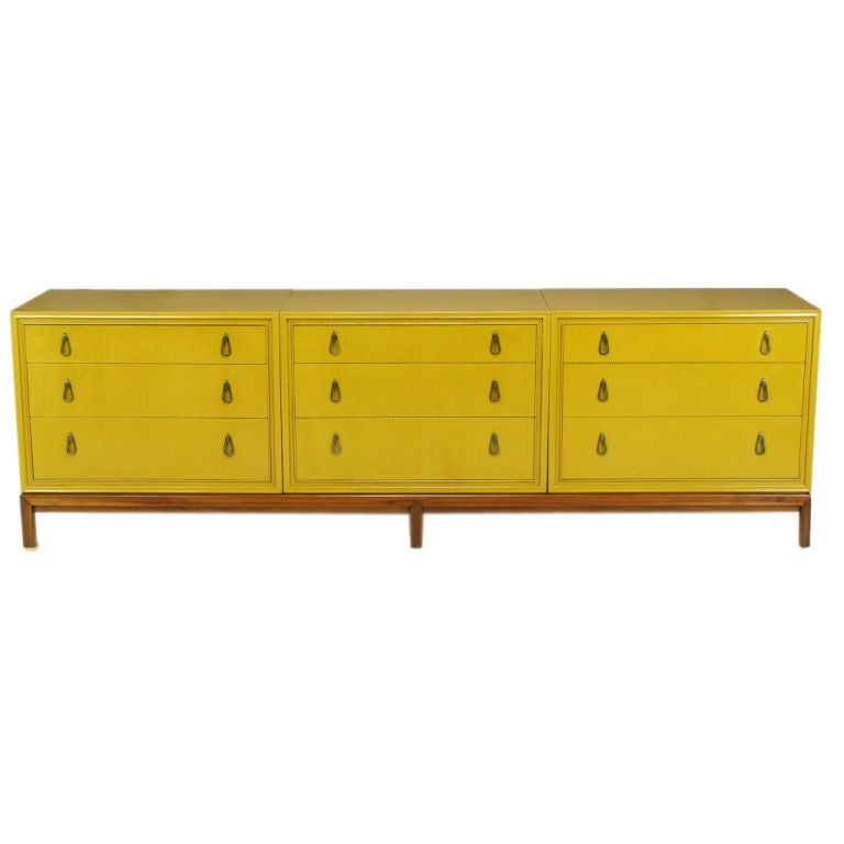 Mount Airy Saffron Lacquer Modular Three Section Dresser