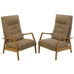 Pair Milo Baughman Walnut and Wool Recliners For James Inc.