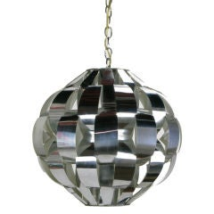 Lightolier Spherical Chrome Basket Weave Pendant Light