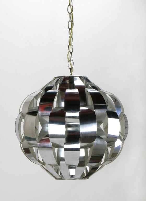 lightolier spherical chrome basket weave pendant light at