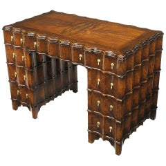 Exquisite 1920s Fluted Birds Eye Maple & Flame Walnut Desk.