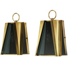 Pair Geometric Brass & Smoked Glass Sconces, Lightolier Attr.