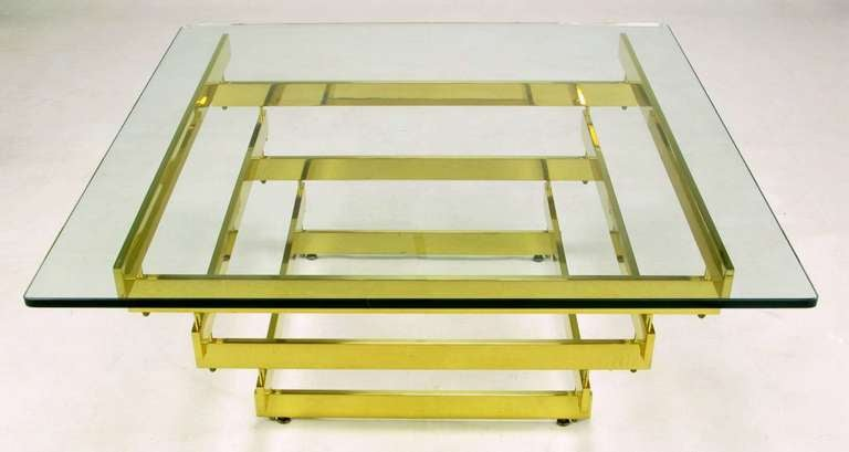 Architectural Stacked Solid Brass Bar and Glass Coffee Table 2