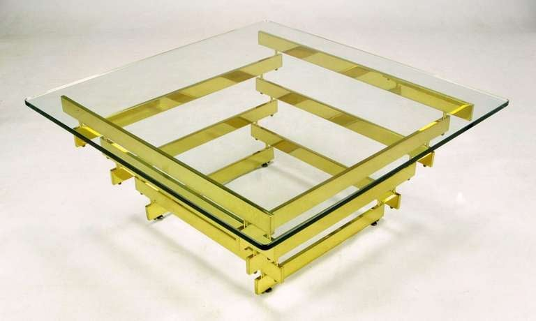 American Architectural Stacked Solid Brass Bar and Glass Coffee Table For Sale
