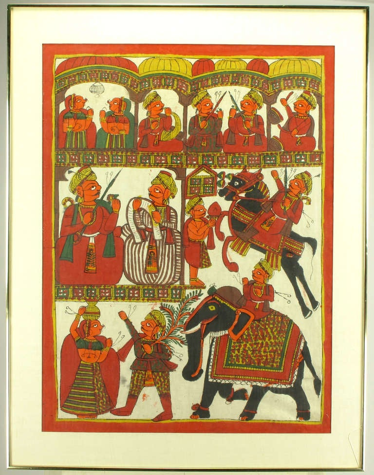 Hand-painted batik in orange, scarlet, saffron, green, brown and black. Several vignettes featuring Indian men and women in daily activities such as pipe smoking and music playing, as well as horse and elephant riding. Art work measures 27.5