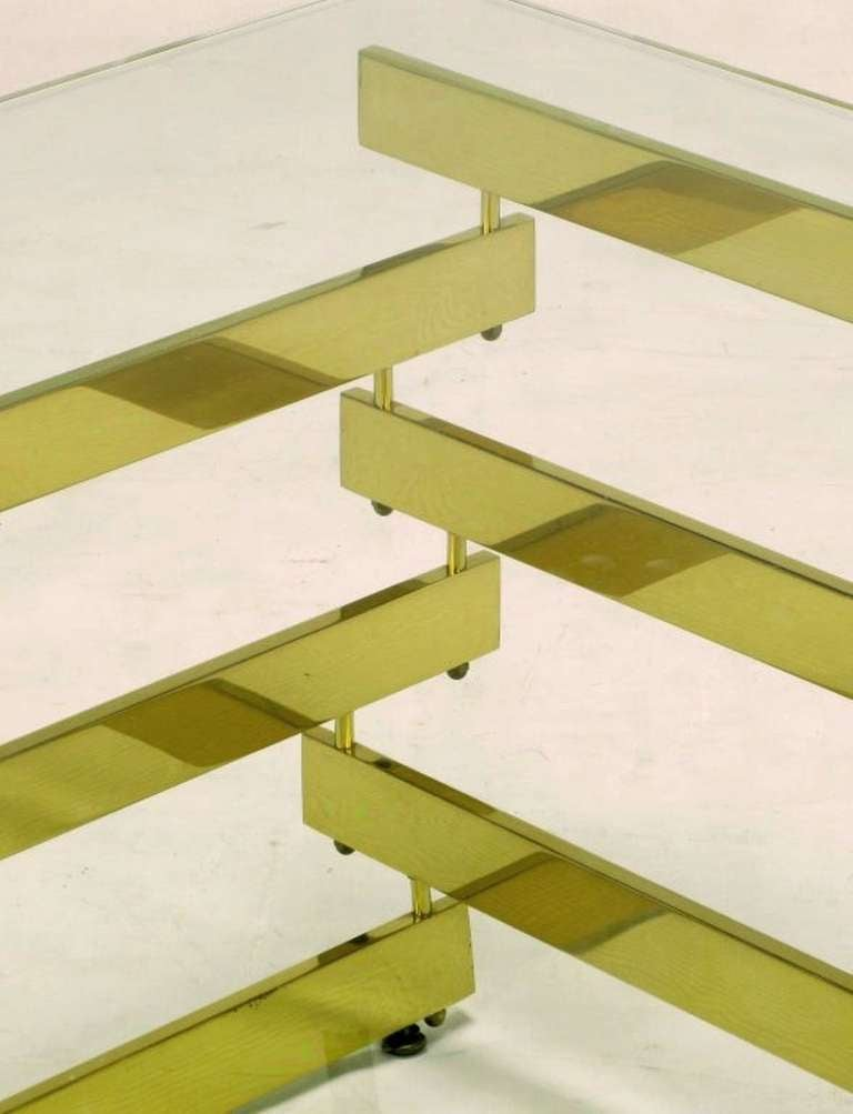 Architectural Stacked Solid Brass Bar And Glass Coffee Table For Sale At 1stdibs