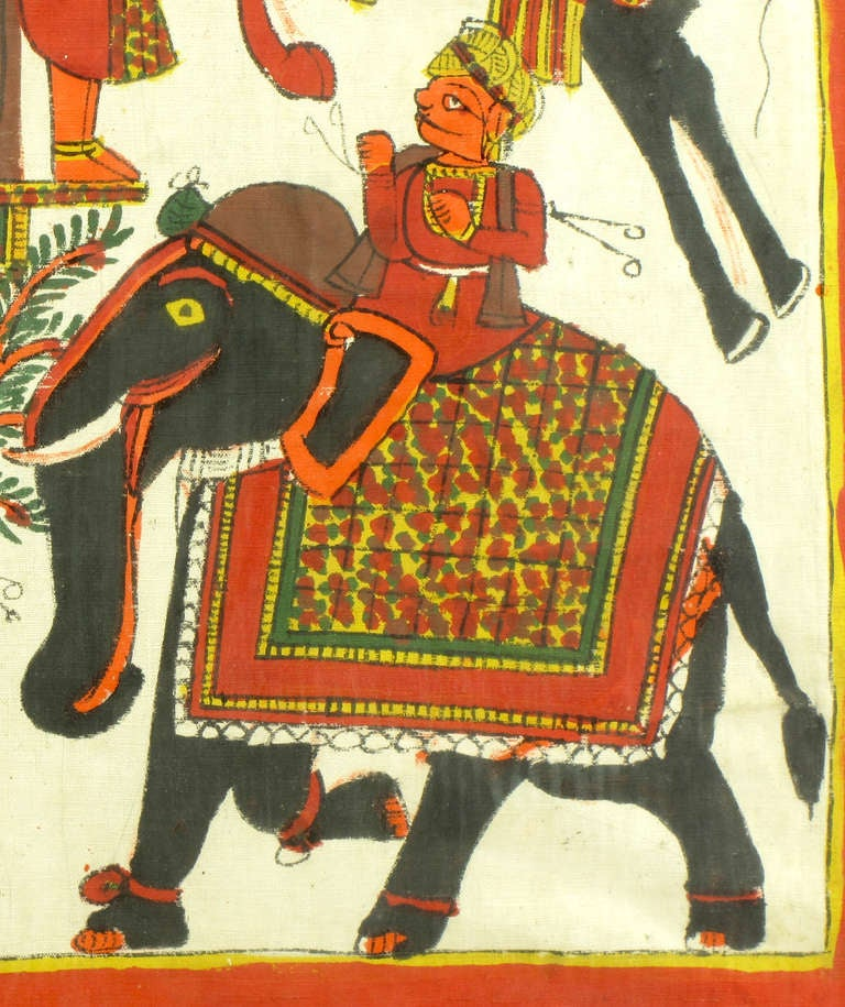 Mid-20th Century Colorful and Large Batik Fabric Painting with Villagers, Horse and Elephant For Sale