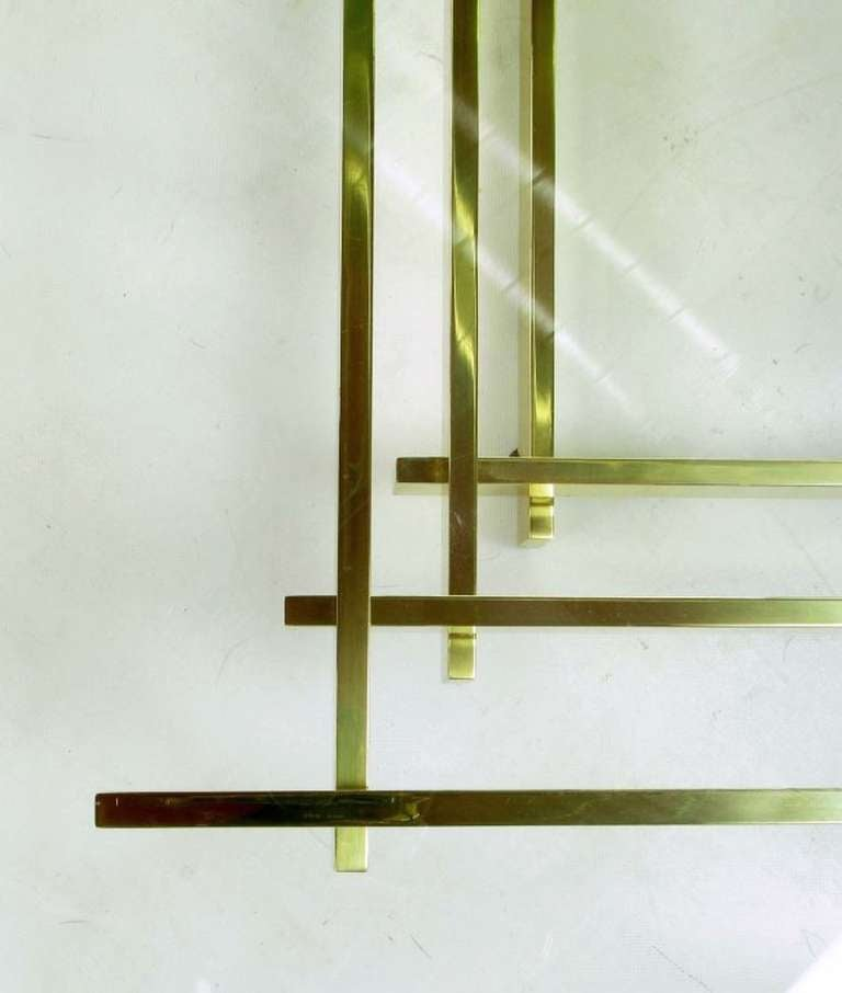 Architectural Stacked Solid Brass Bar and Glass Coffee Table For Sale 3