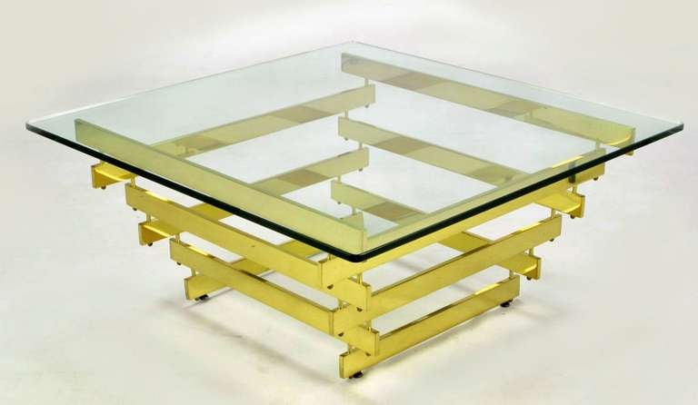 Architectural Stacked Solid Brass Bar and Glass Coffee Table In Excellent Condition For Sale In Chicago, IL