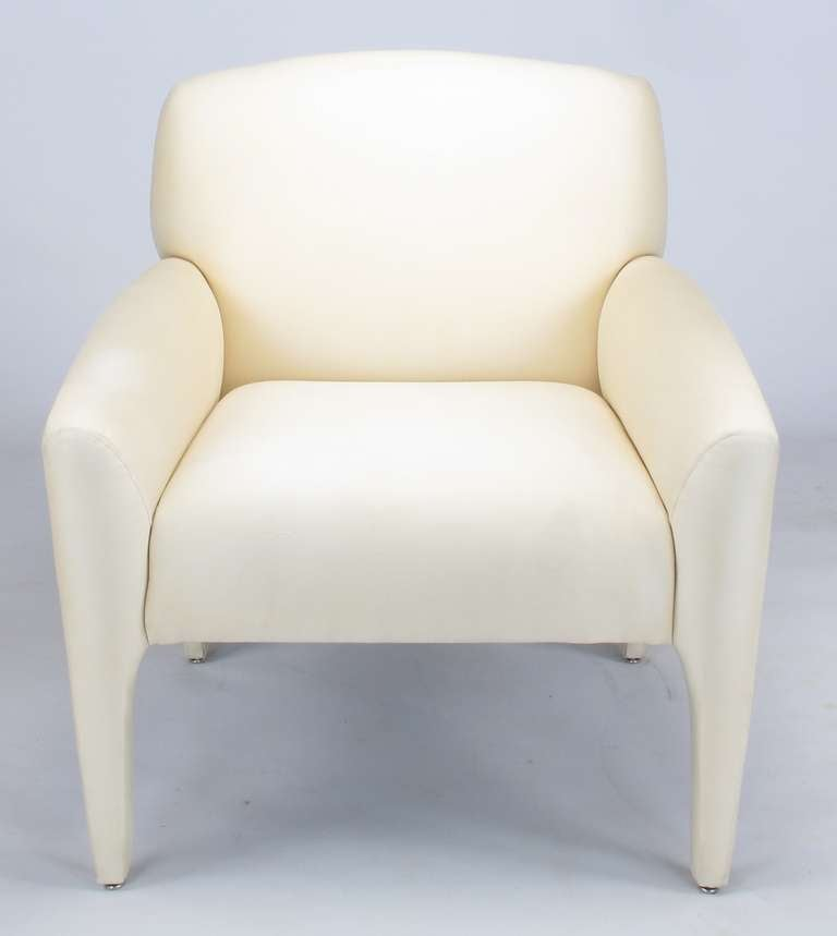 Pair of Vladimir Kagan Lounge Chairs in Ivory Silk 4