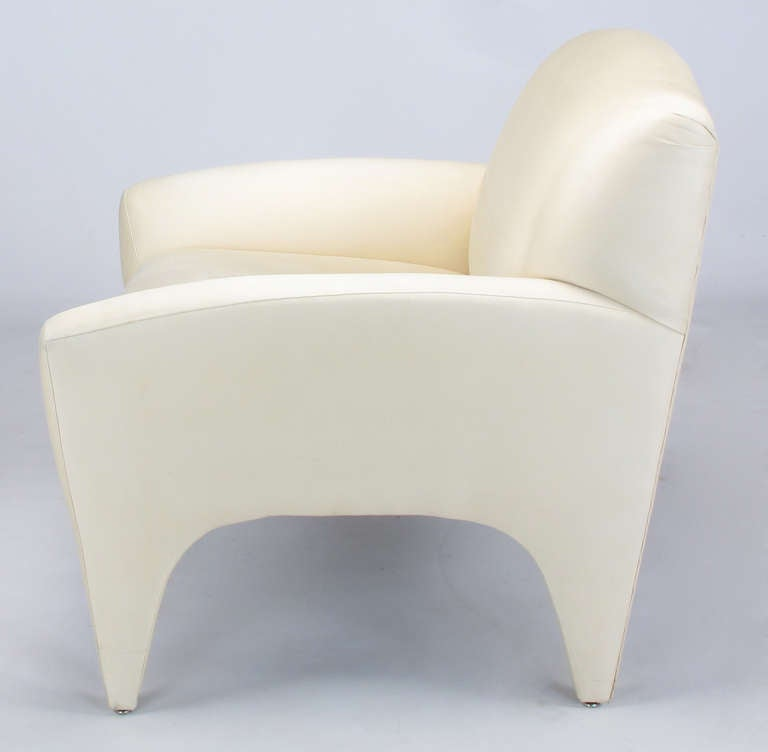 Pair of Lounge Chairs in Ivory Silk For Sale 2