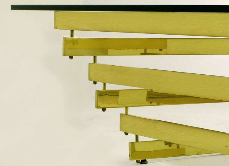 Late 20th Century Architectural Stacked Solid Brass Bar and Glass Coffee Table For Sale