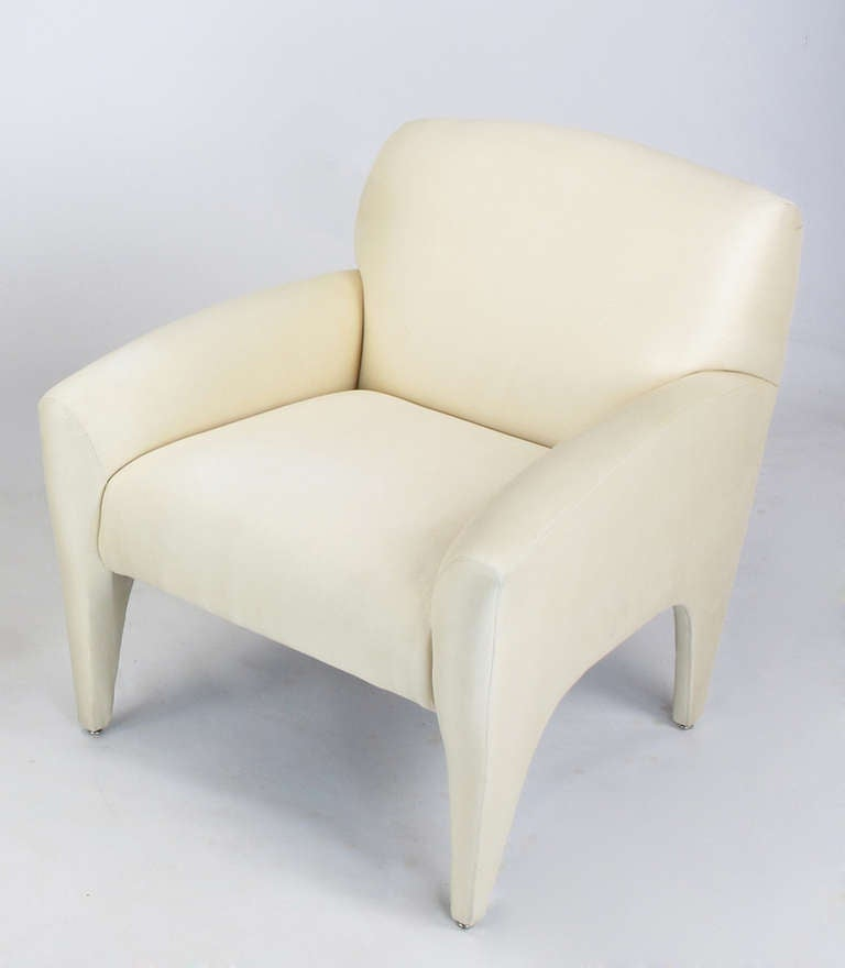 Pair of Vladimir Kagan Lounge Chairs in Ivory Silk 5