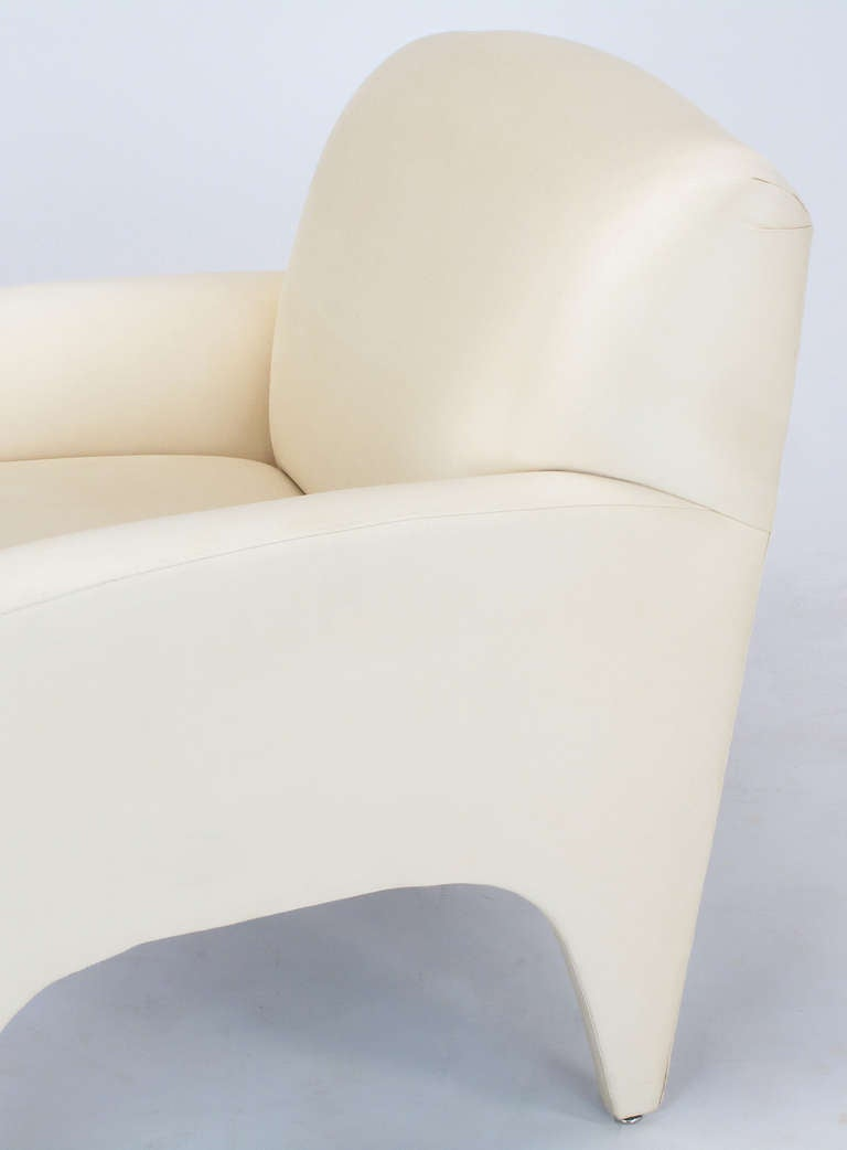 Pair of Lounge Chairs in Ivory Silk For Sale 5