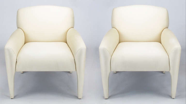 Pair of Lounge Chairs in Ivory Silk In Good Condition For Sale In Chicago, IL