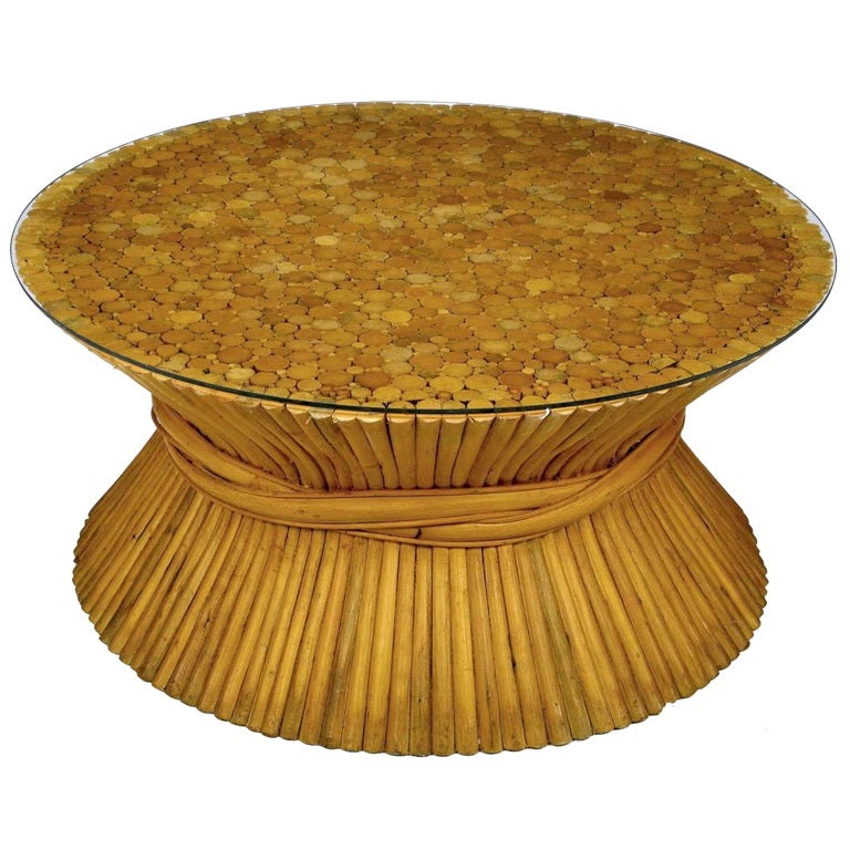 Sheaf Of Bamboo Coffee Table Attributed To Mcguire For