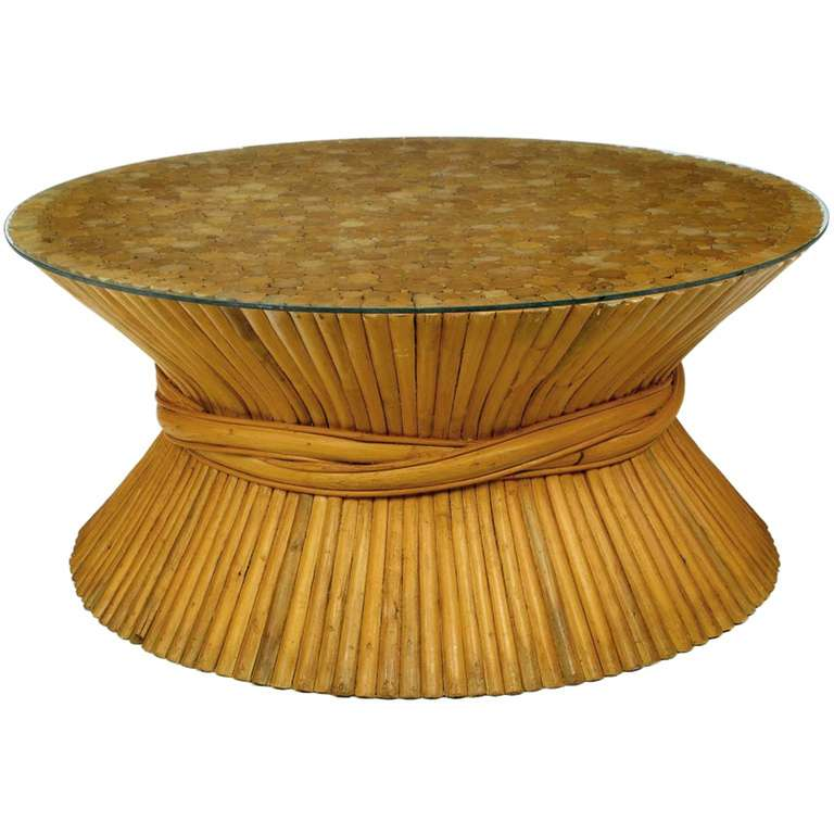 American Sheaf Of Bamboo Coffee Table Attributed To Mcguire For