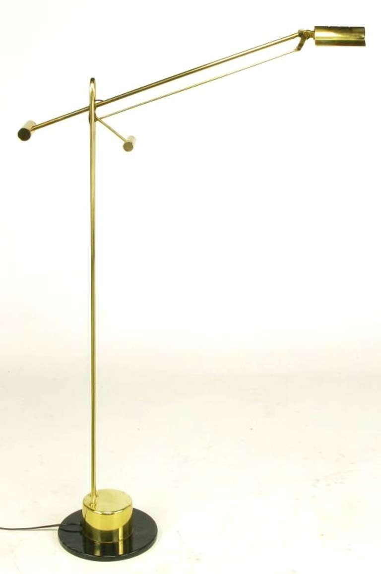 Postmodern Articulated Brass and Black Marble Floor Lamp 3