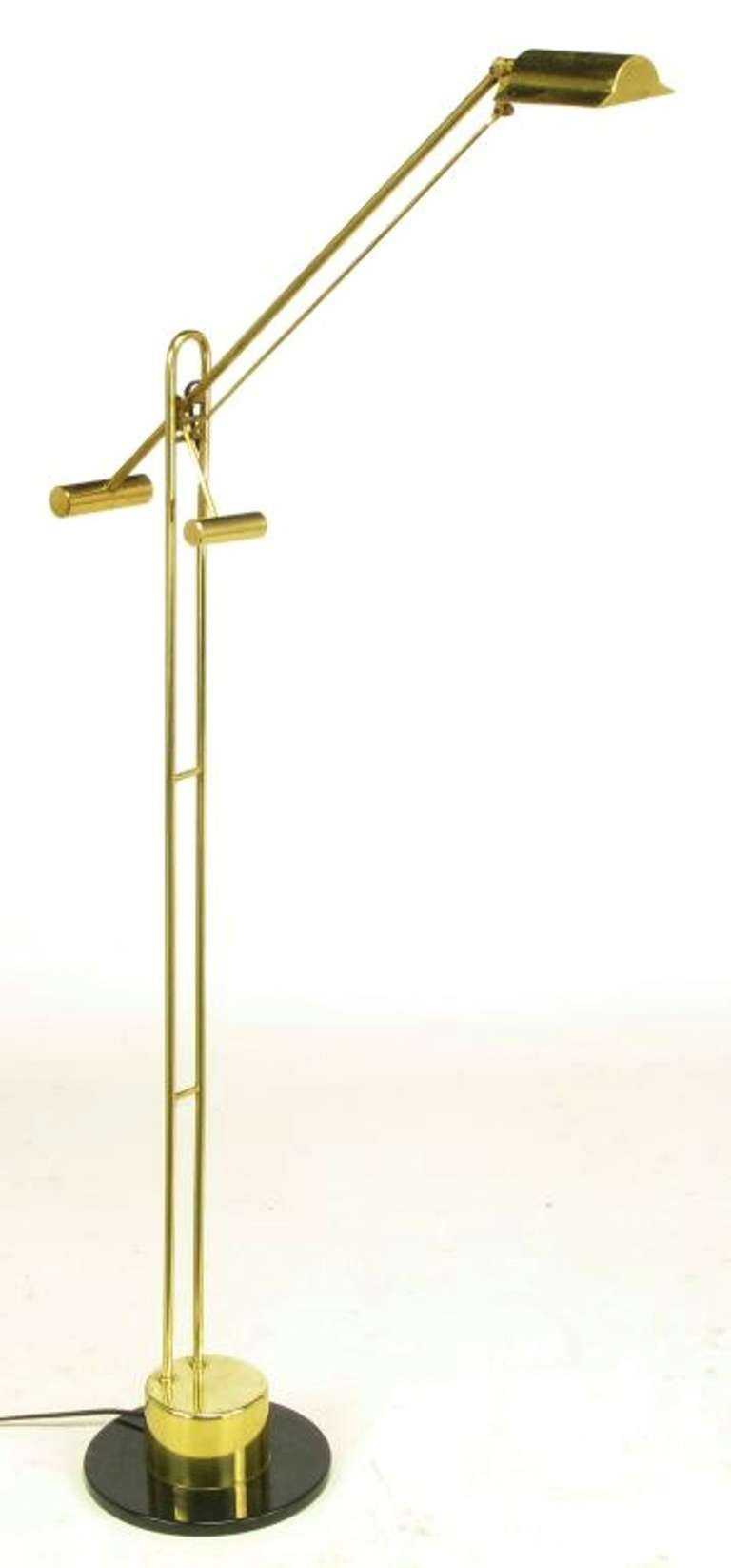 Postmodern Articulated Brass and Black Marble Floor Lamp 2