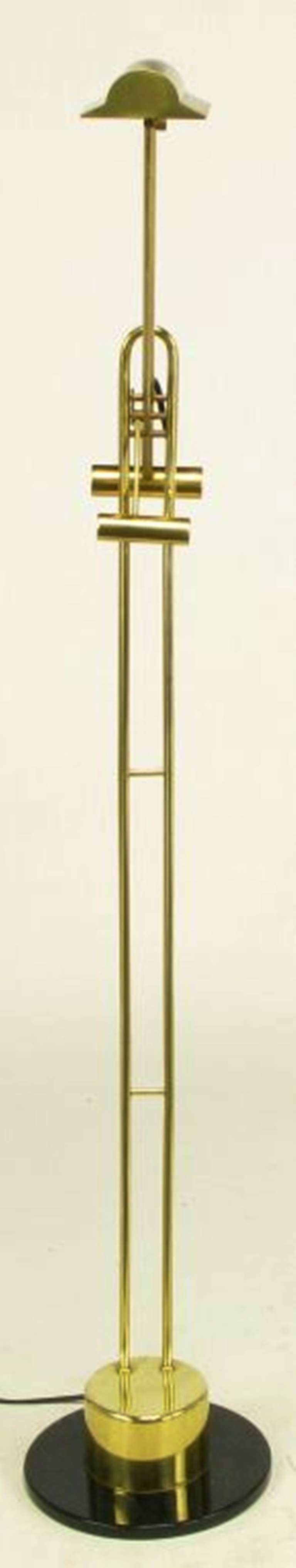 Postmodern Articulated Brass and Black Marble Floor Lamp 4