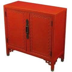 Chinoiserie Two-Door Cinnabar Lacquered Cabinet
